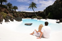 Swimming pool in Los Jameos del Agua. Lanzarote Tourism